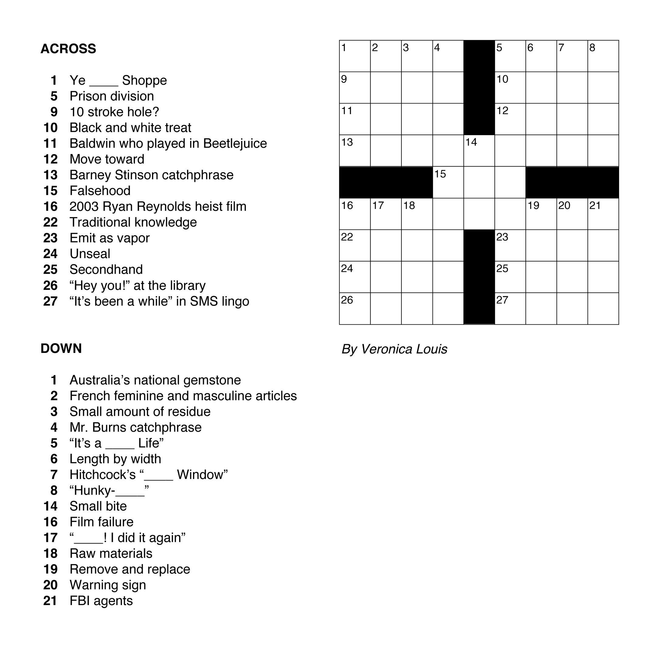 The Cruciverbalists First Constructed Crossword Puzzle