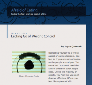Screen shot from Afraid of Eating.com