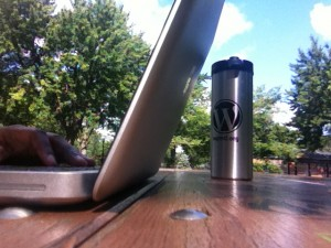 Laptop on table in a park