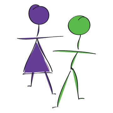Purple female stick figure and Green male stick figure