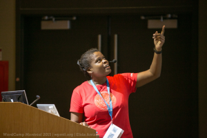 Veronica Louis giving a presentation at WordCamp Montreal 2015