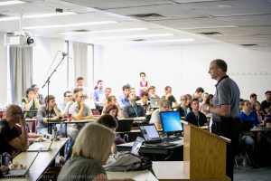 Speaker giving presentaion at WordCamp Montreal 2015 in a Lecture Room