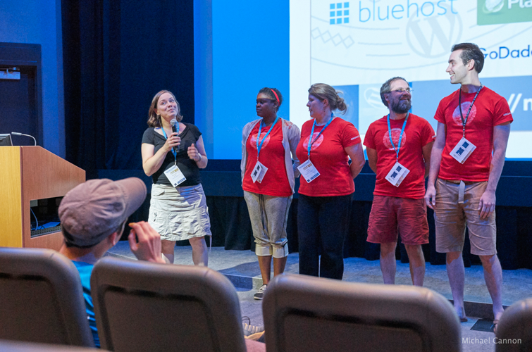 WordCamp Montreal 2015 Organizers saying thank yous at closing ceremony